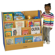 Color Essentials Stain Resistant Single Sided Big Book Display with Four Shelves - Blue Side Panels