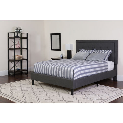Our Roxbury King Size Tufted Upholstered Platform Bed in Dark Gray Fabric with Memory Foam Mattress is on sale now.