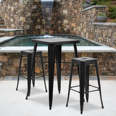 """Commercial Grade 23.75"""" Square Black Metal Indoor-Outdoor Bar Table Set with 2 Square Seat Backless Stools"""