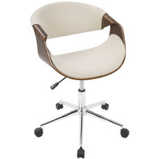Curvo Mid-Century Modern Fabric Office Chair with Walnut Accents - Cream