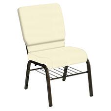 HERCULES Series 18.5''W Church Chair in E-Z Sierra Off White Vinyl with Book Rack - Gold Vein Frame