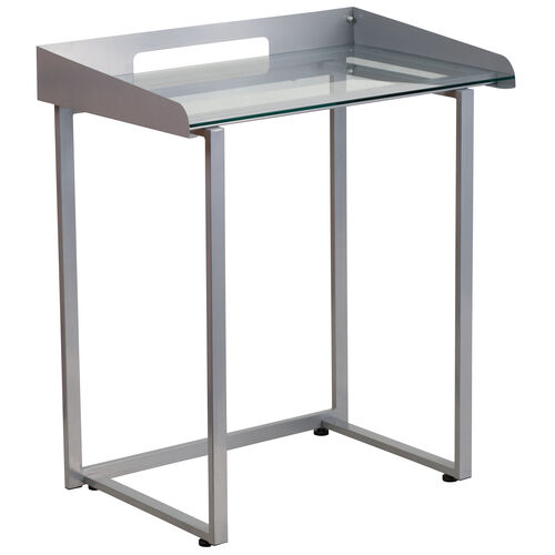 Our Contemporary Clear Tempered Glass Desk with Raised Cable Management Border and Silver Metal Frame is on sale now.