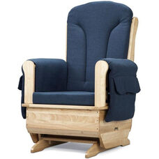 Wooden Glider Rocking Chair with Blue Polyester Fabric and Armrest Pockets - 30