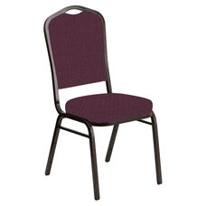 Embroidered Crown Back Banquet Chair in Interweave Amethyst Fabric - Gold Vein Frame