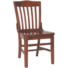 2996 Side Chair with Slat Back & Wood Saddle Seat