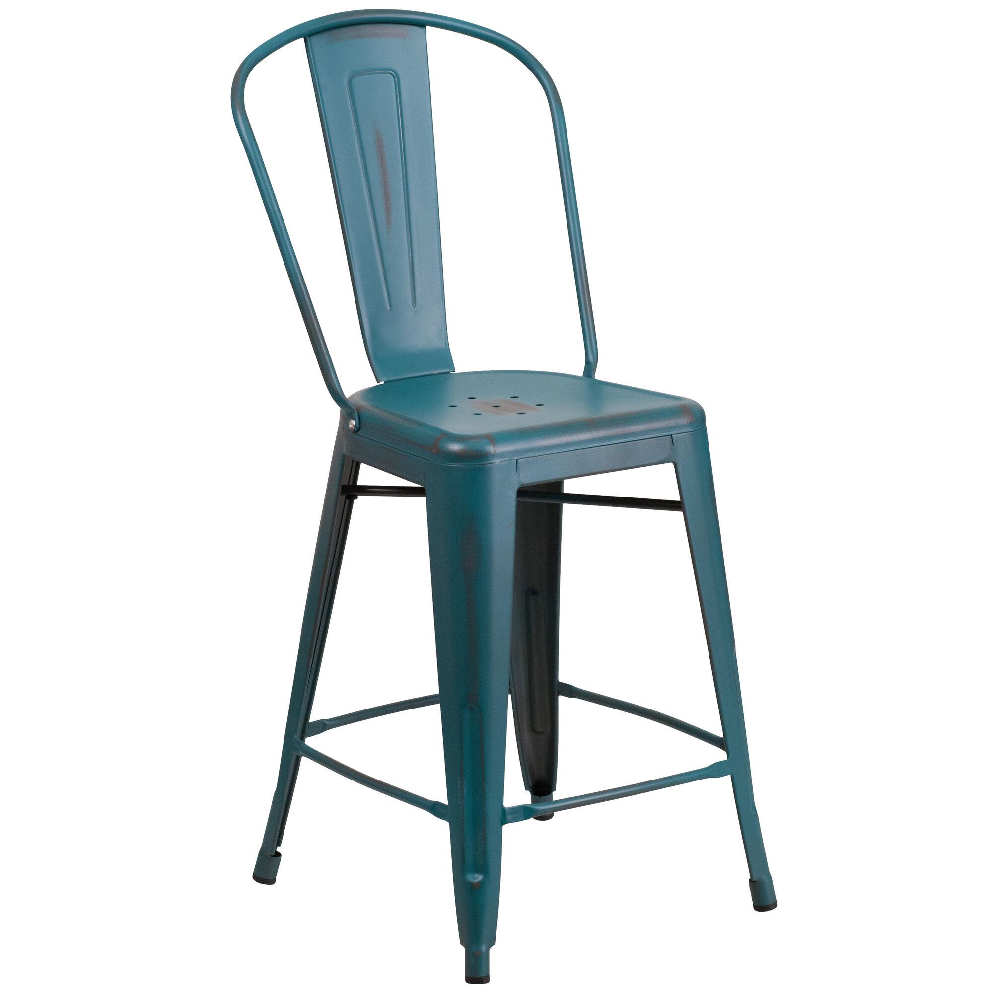 Flash furniture 24 39 39 high distressed kelly blue teal metal for Furniture 24