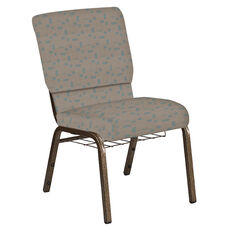 Embroidered 18.5''W Church Chair in Circuit Oak Fabric with Book Rack - Gold Vein Frame