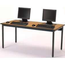 Rectangular Fixed Height Laminate Top Computer Table with Black Legs - 60