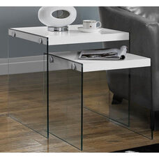 Modern 2 Piece Nesting Table Set with Tempered Glass Base - White