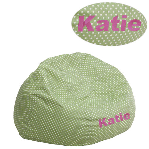 Our Personalized Small Green Dot Bean Bag Chair for Kids and Teens is on sale now.