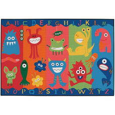 Kids Value Alphabet Monsters Rectangular Nylon Rug - 36