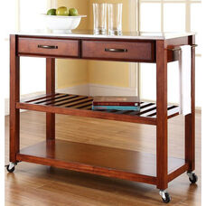 Stainless Steel Top Kitchen Island Cart - Classic Cherry Finish