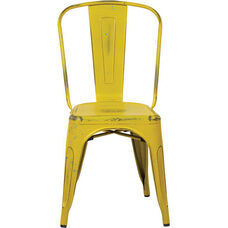 OSP Designs Bristow Stackable Armless Metal Chair - Set of 4 - Antique Yellow with Blue Specks