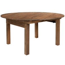 """HERCULES Series 60"""" Round Antique Rustic Solid Pine Folding Farm Dining Table"""