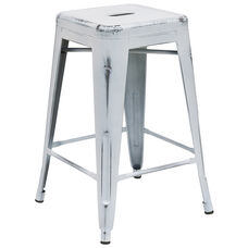 "Commercial Grade 24"" High Backless Distressed White Metal Indoor-Outdoor Counter Height Stool"