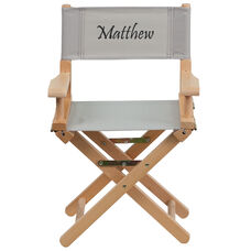 Embroidered Kid Size Directors Chair in Gray