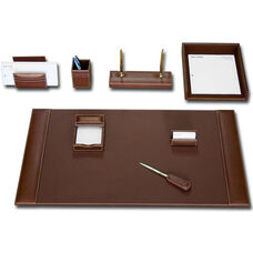 Rustic Leather 8 Piece Desk Set - Brown