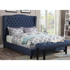 Faye Button Tufted Linen Bed with Nailhead Trim - Queen - Blue