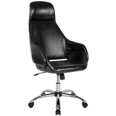 Marbella Home and Office Upholstered High Back Chair in Black LeatherSoft