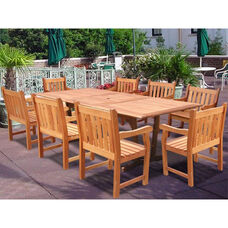 Malibu Outdoor 9 Piece Wood Patio Dining  Set with Rectangular Extension Table and 8 Arched Slat Back Armchairs