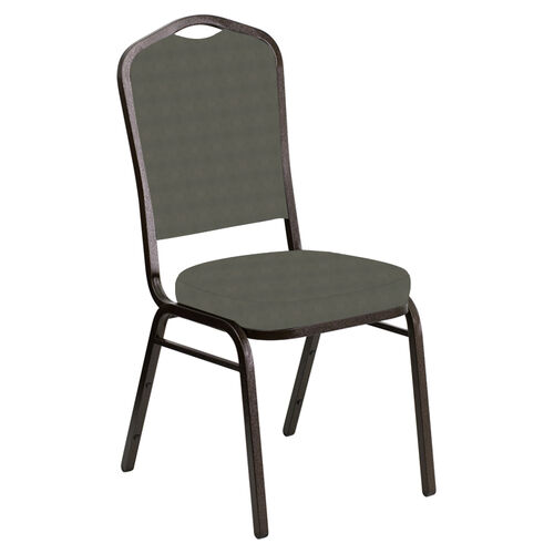 Our Embroidered Crown Back Banquet Chair in Harmony Gray Fabric - Gold Vein Frame is on sale now.
