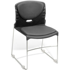300 lb. Capacity Stack Chair with Anti-Microbial and Anti-Bacterial Vinyl Seat and Back - Charcoal