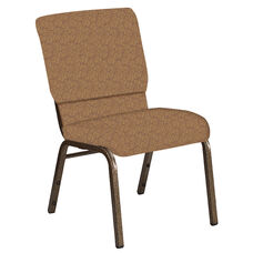 Embroidered 18.5''W Church Chair in Martini Eggnog Fabric - Gold Vein Frame