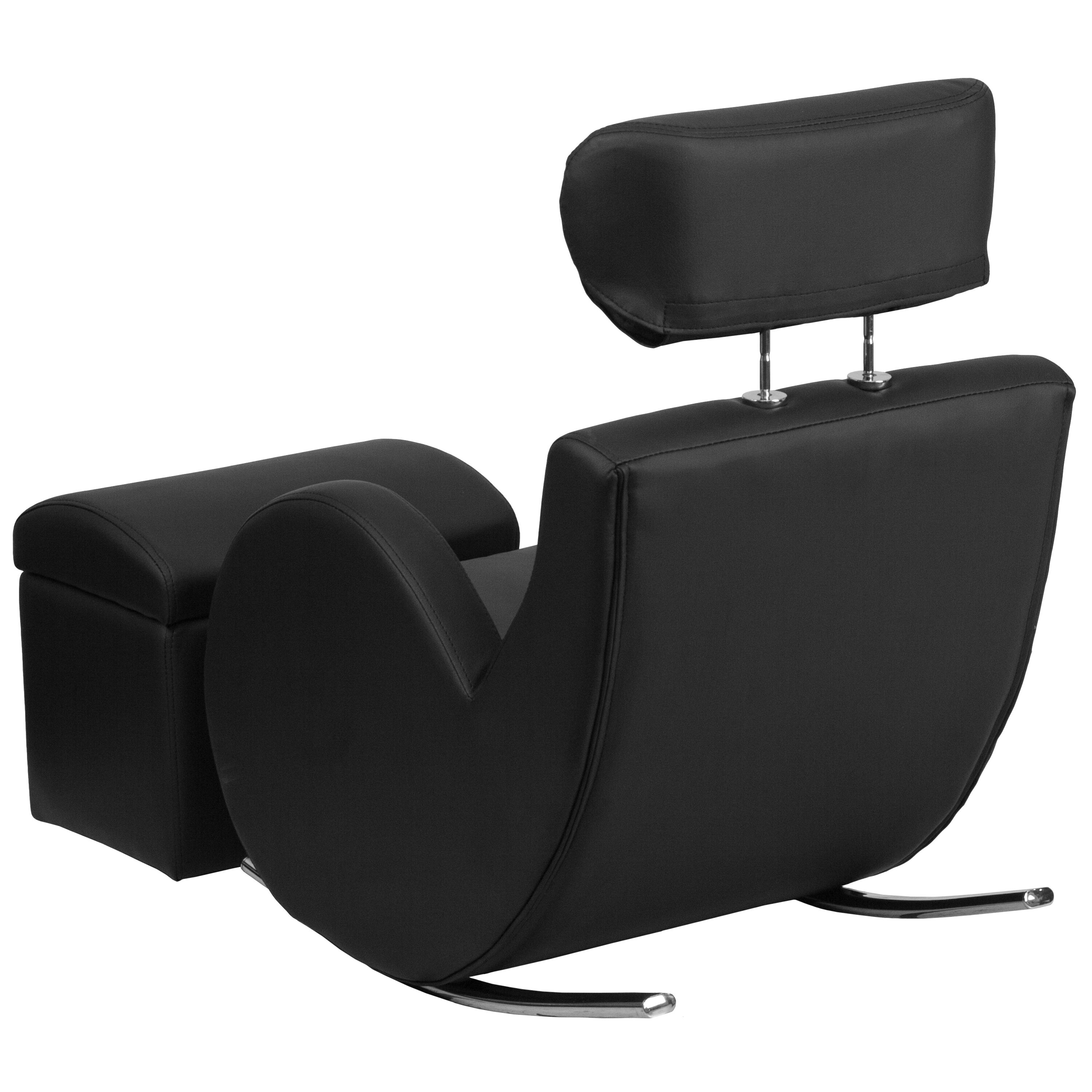 Ordinaire Our HERCULES Series Black Vinyl Rocking Chair With Storage Ottoman Is On  Sale Now.