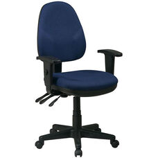 Work Smart Dual Function Ergonomic Chair with Adjustable Back Height and Arms
