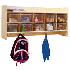 Wall Mountable Locker & Cubby Storage Unit with Tuff-Gloss UV Finish and 10 Clear Cubby Trays - 46.75