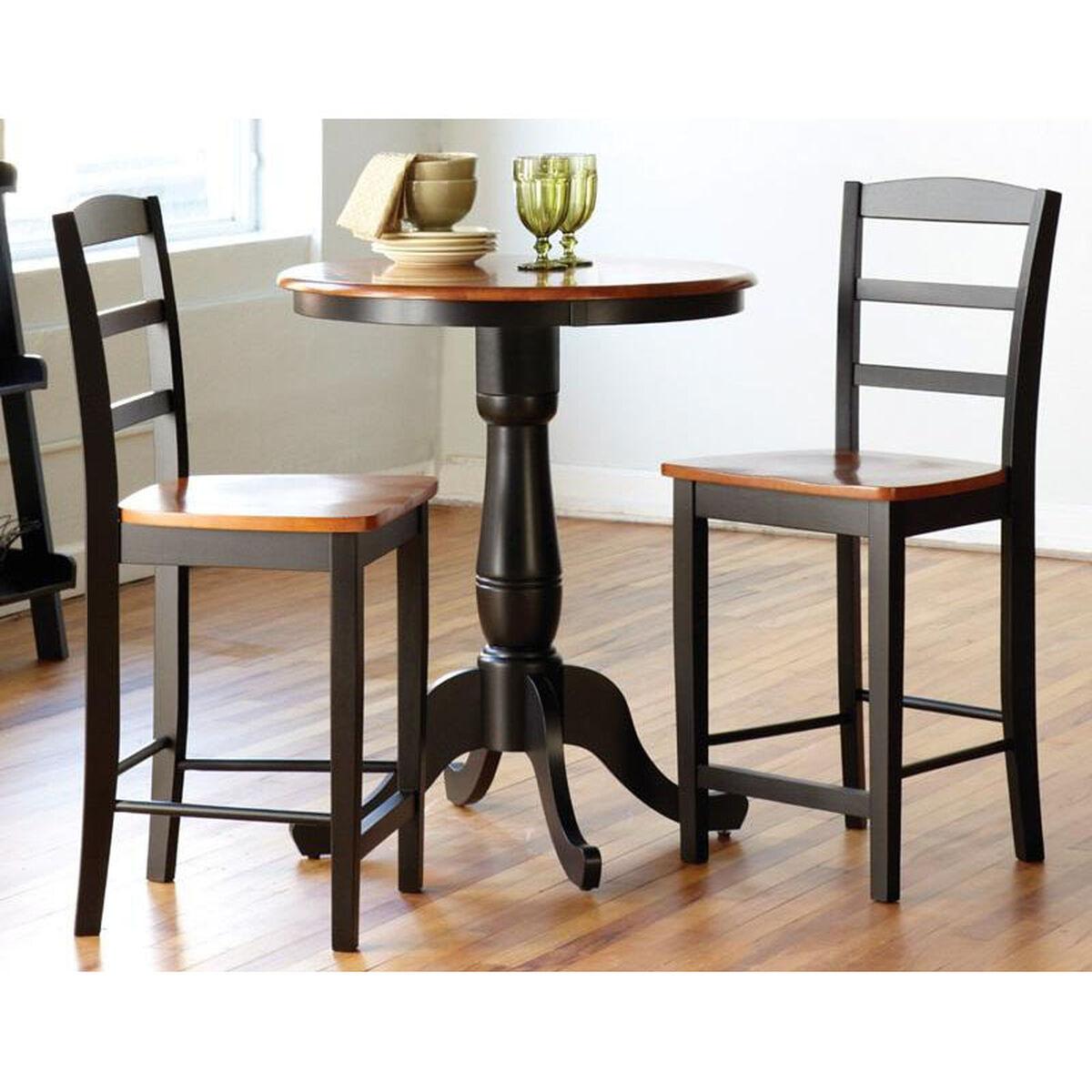 Solid Wood Three Piece Table Set KRTB Bizchaircom - Black pedestal dining table set