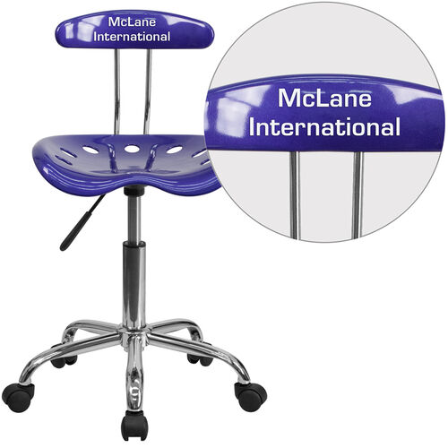 Our Personalized Vibrant Deep Blue and Chrome Swivel Task Office Chair with Tractor Seat is on sale now.