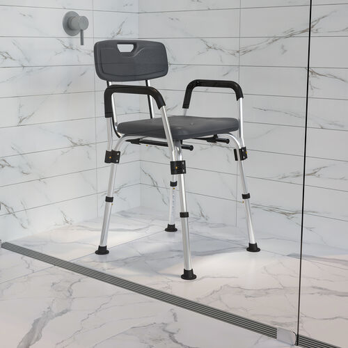 HERCULES Series 300 Lb. Capacity, Adjustable Bath & Shower Chair with Depth Adjustable Back