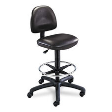 Safco® Precision Extended Height Swivel Stool w/Adjustable Footring - Black Vinyl