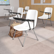 White Ergonomic Shell Chair with Left Handed Flip-Up Tablet Arm