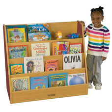 Color Essentials Stain Resistant Single Sided Big Book Display with Four Shelves - Red Side Panels