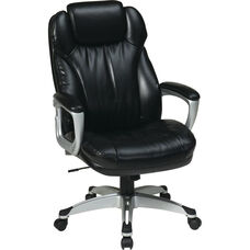 Work Smart Executive Bonded Leather Chair with Padded Arms and Built-in Adjustable Headrest - Black