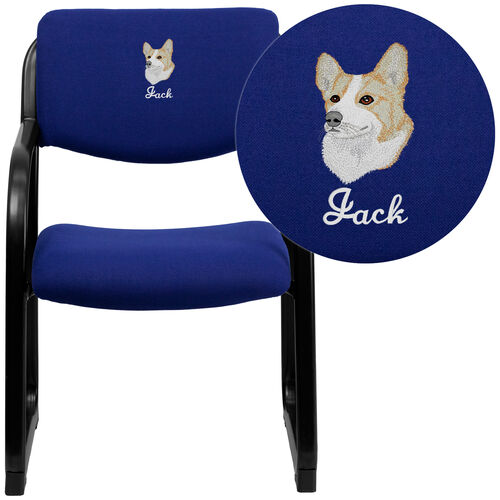 Our Embroidered Navy Fabric Executive Side Reception Chair with Sled Base is on sale now.