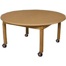 Mobile Round High Pressure Laminate Table with Hardwood Legs - 48