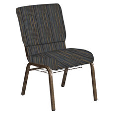 Embroidered 18.5''W Church Chair in Canyon Sky Fabric with Book Rack - Gold Vein Frame