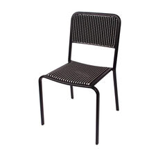 Rio Black Frame Stacking Aluminum Side Chair - Black and White Wicker