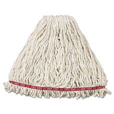 Rubbermaid® Commercial Web Foot Wet Mop Head - Shrinkless - Cotton/Synthetic - White - Large - 6/Carton