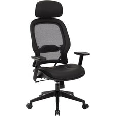 Space Professional Air Grid Back Office Chair with Bonded Leather Seat and Adjustable Headrest