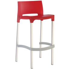 Domenica Lightweight Stackable Barstool with Matte Aluminum Legs - Red