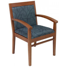 Tea Indoor Office Chair with Gray Pattern Fabric Seat and Back - Cherry Wood Finish