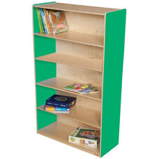 Wooden 5 Fixed Shelf Bookcase with Plywood Back - Green Apple - 36