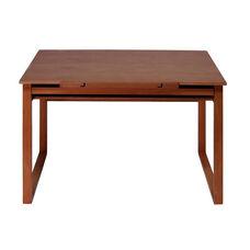 Ponderosa Wood Drafting Table with Adjustable Angle Top and Storage Drawer - Sonoma Brown