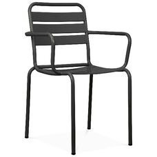 Paris Black Metal Stackable Arm Chair - Set of 4