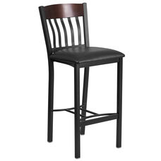 Vertical Back Black Metal and Walnut Wood Restaurant Barstool with Black Vinyl Seat