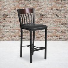 Vertical Back Black Metal and Walnut Wood Restaurant Barstool with Black Vinyl Seat